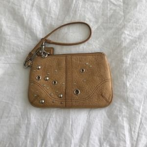 Authentic Tan leather studded coach wristlet